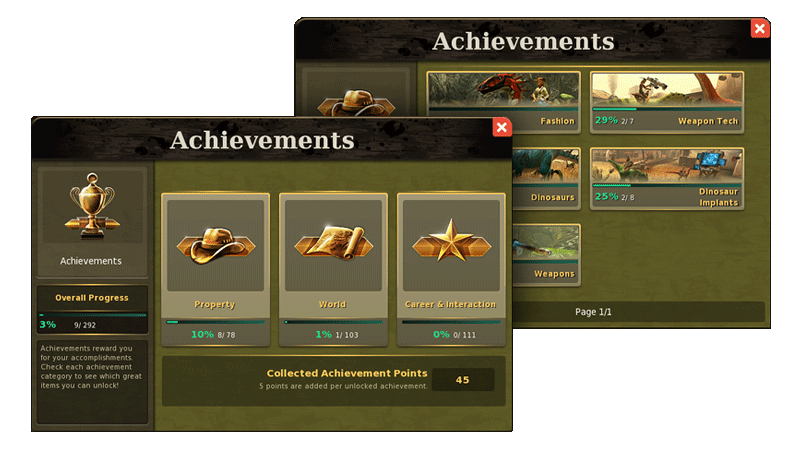 Dino Storm - Achievements Window